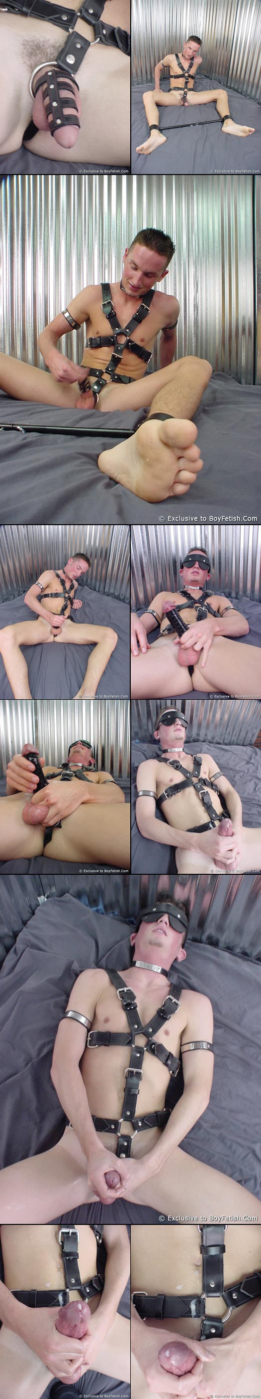 twink in bondage gear masturbating