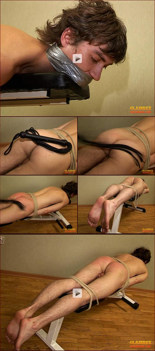 Twink lashed with leather whip