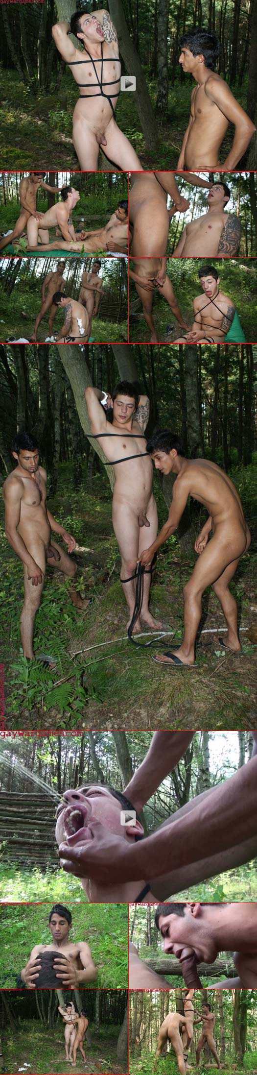 horny queer commandos restrain and fuck their slave