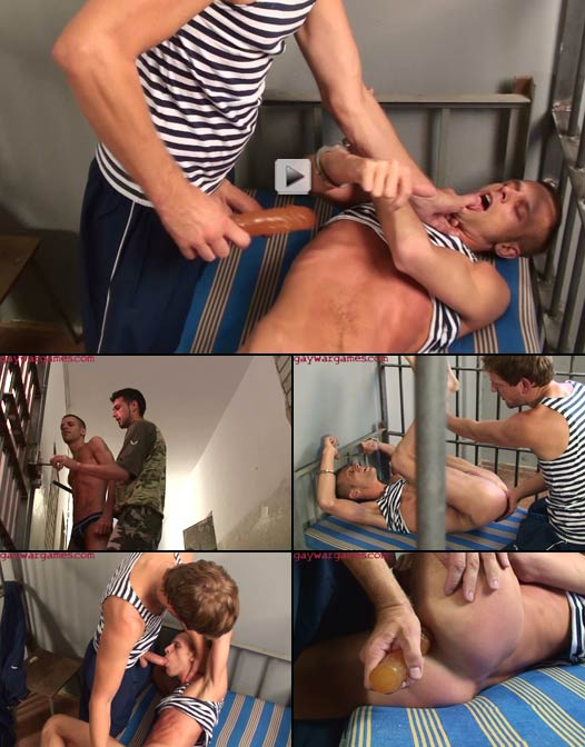 Degraded prisoner dominated by horny cellmate