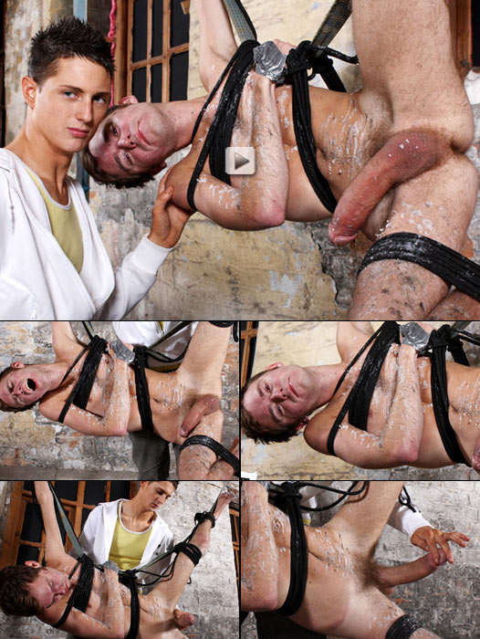 suspended twink with huge cock tortured with hot wax