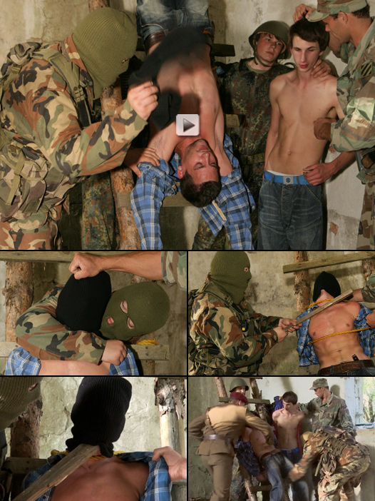 terrified twinks face brutal interrogation by horny soldiers