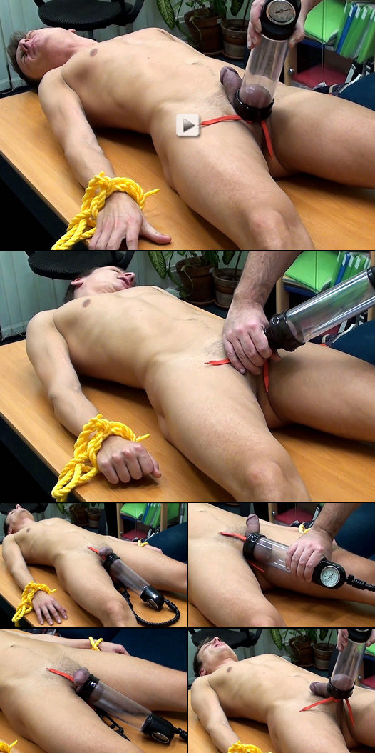 Roped Twink gets aroused during penis pump CBT training