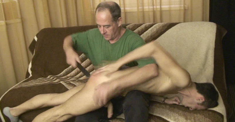 British Lad caught stroking his cock; Spanked by his furious Dad
